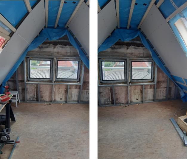 Dachschrägen mit Lattenkonstruktion und Wand mit Ständerwerkprofilen